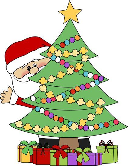 422x550 Christmas Clip Art Santa Behind A Christmas Tree Clip Art