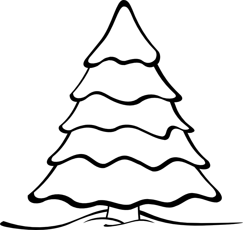 800x760 Christmas Tree Clip Art Black And White