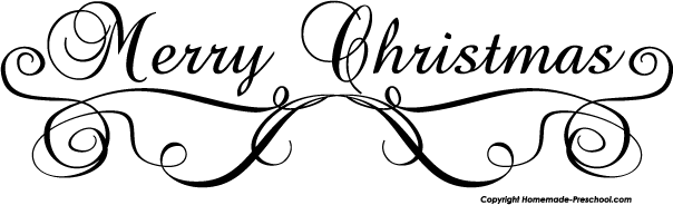 604x184 Merry Christmas Clipart Black And White