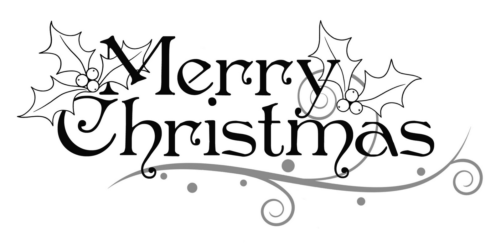 1600x791 Black And White Merry Christmas Clipart