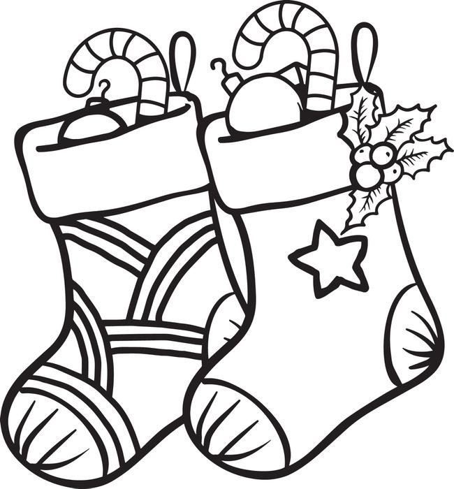 650x700 Christmas Socks Coloring Pages