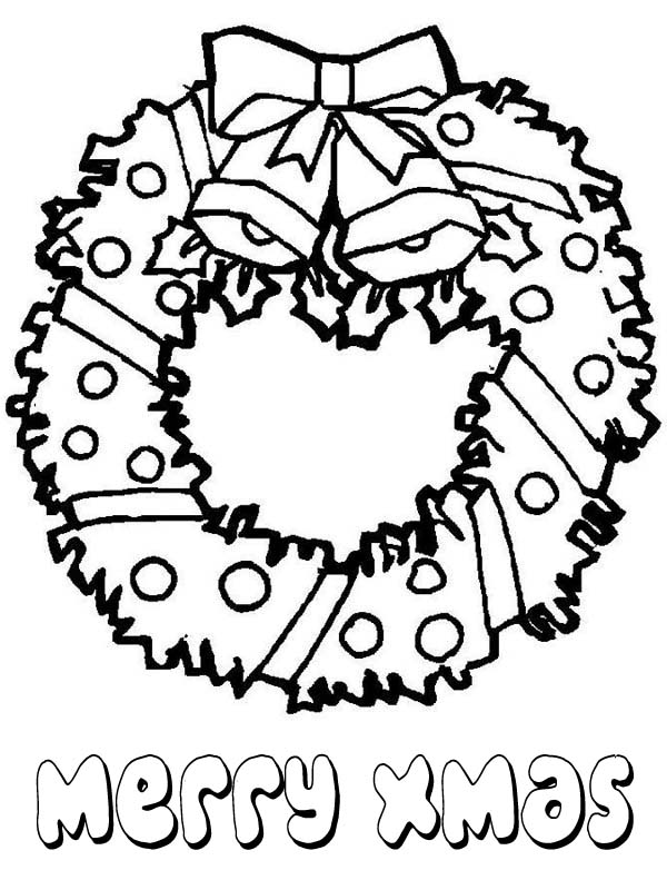 600x800 Lovely Christmas Wreath For Ornament On Christmas Coloring Page