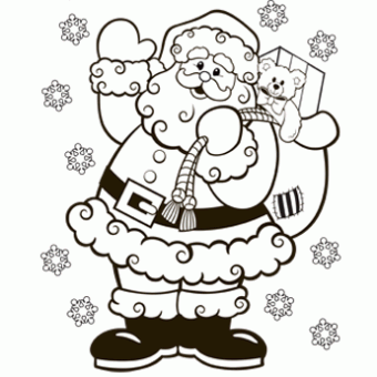 340x340 Santa Coloring Page
