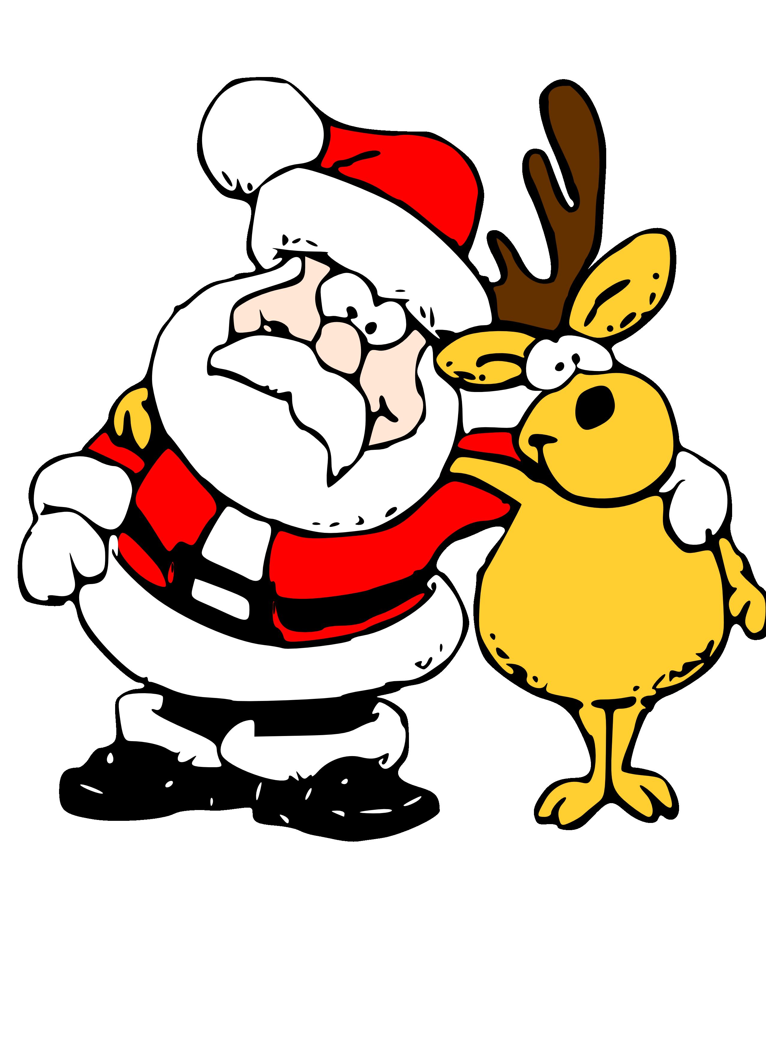 2555x3467 Santa Reindeer Clipart