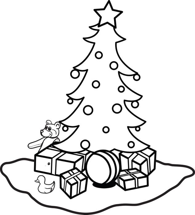 Christmas Tree Coloring Page Free Template - Worksheet & Coloring Pages