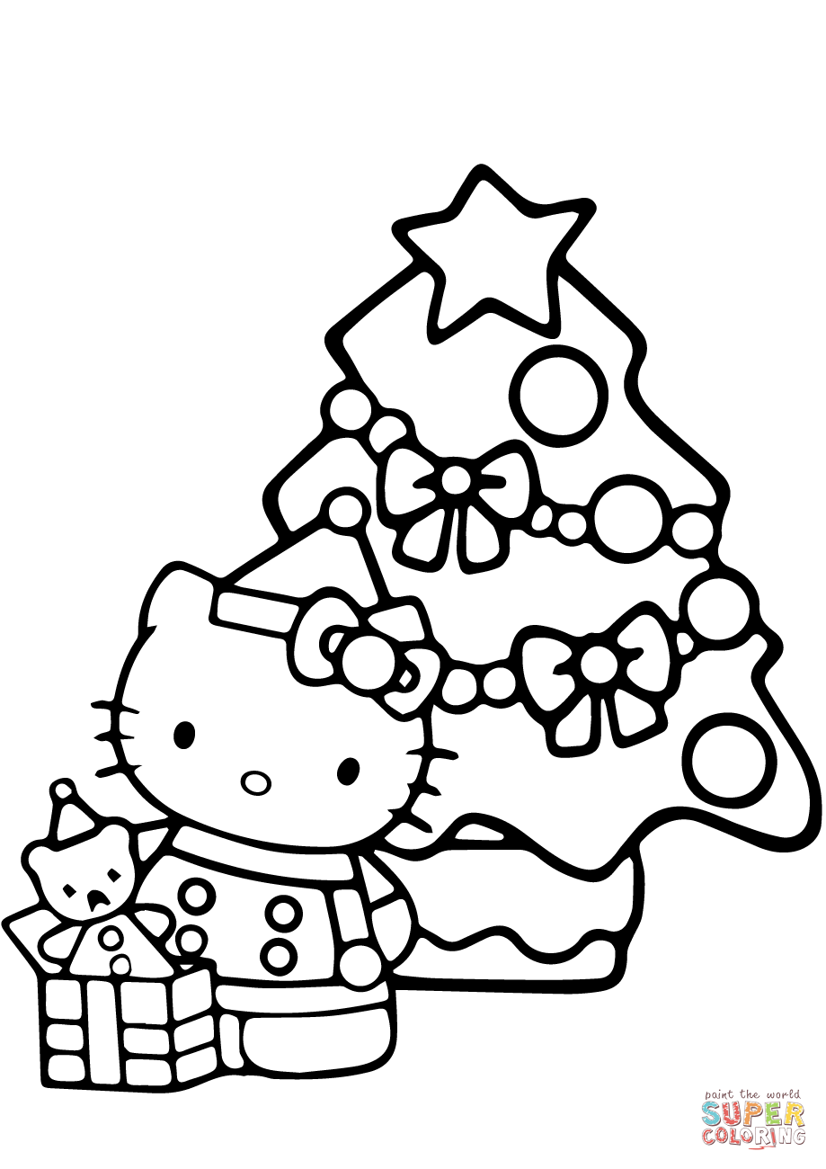919x1300 Kitty Christmas Coloring Pages Free Print