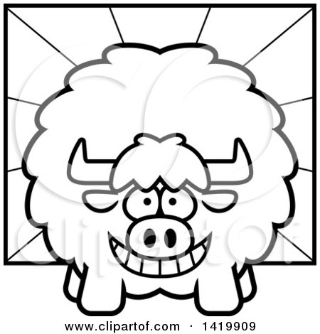 450x470 Cartoon Clipart Of A Black And White Dreaming Yak