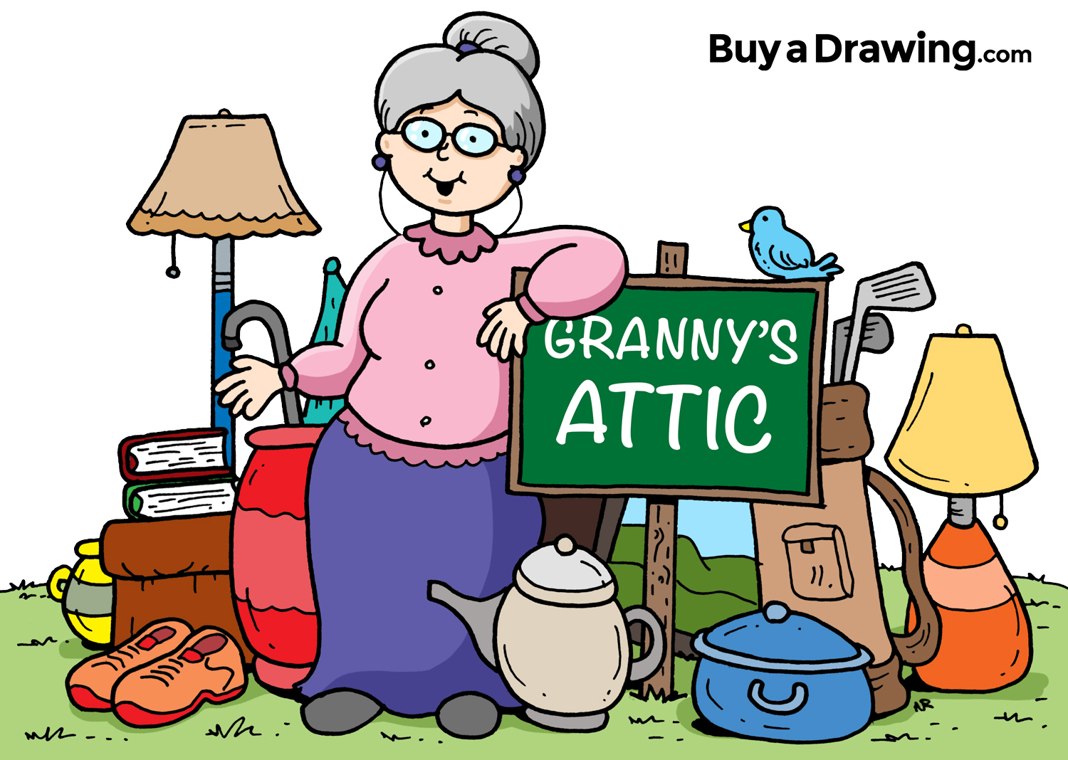 1500x1068 Cartoon Granny Attic And Yard Sale Drawing For Church Flyer