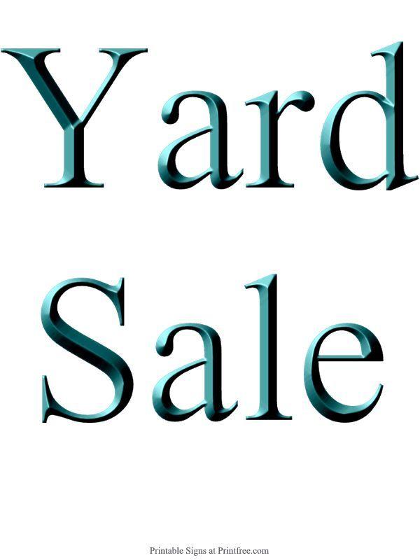 600x800 Yard Sale Sign Template
