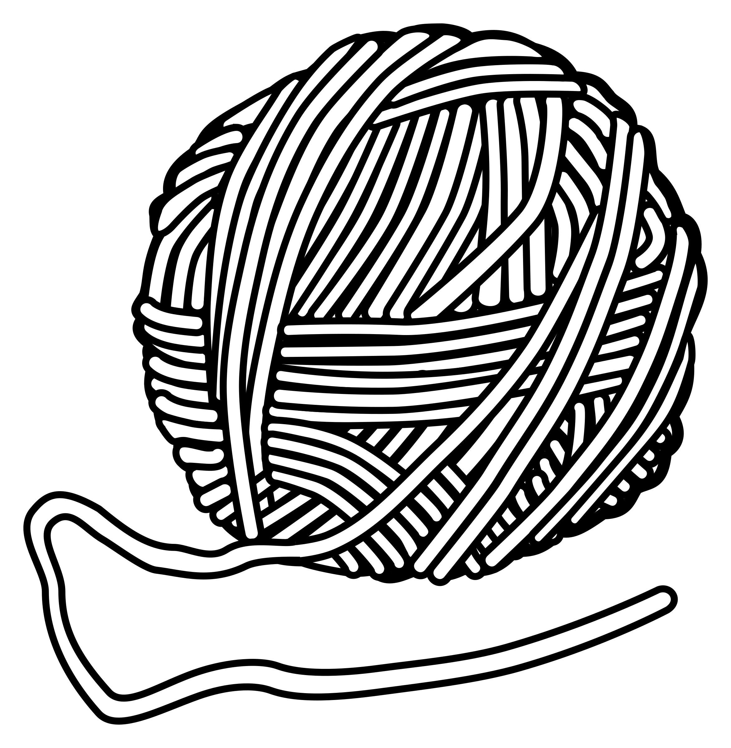 2345x2400 Clipart Yarn And Knitting Needles