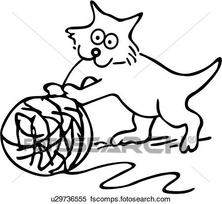 450x414 Clipart Of , Cartoons, Cat, Feline, Kitten, Kitty, Pet, Play
