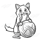 160x160 Kitten With Yarn Clipart