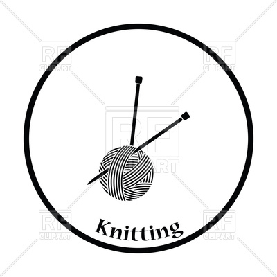 400x400 Thin Circle Design Of Yarn Ball With Knitting Needles Royalty Free