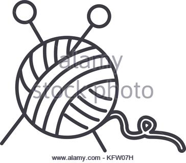 364x320 Ball Of Wool Yarn For Knitting Icon, Cartoon Style Stock Vector