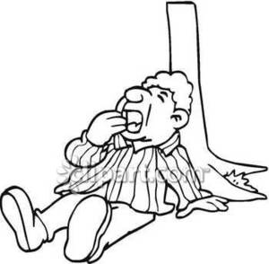 300x294 Man Yawning, Relaxing Under A Tree Royalty Free Clipart Picture