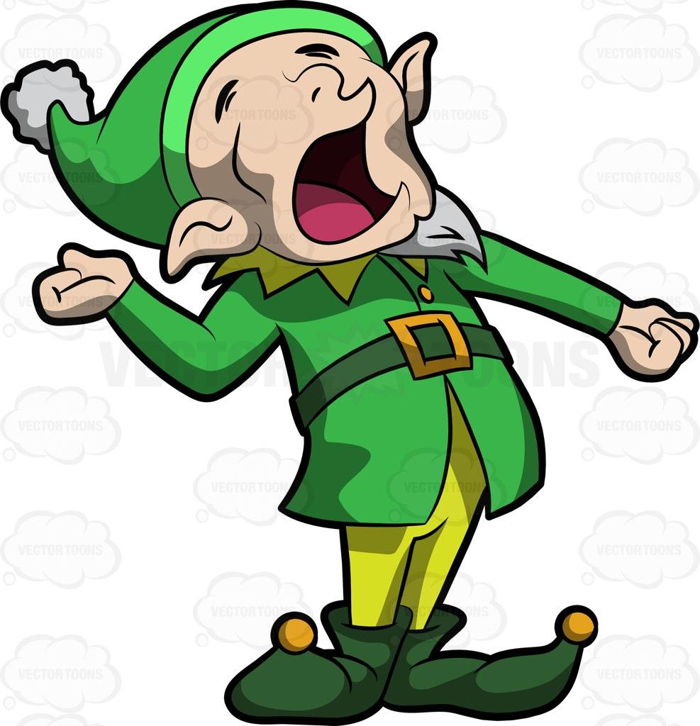 987x1024 A Yawning Elf Cartoon Clipart