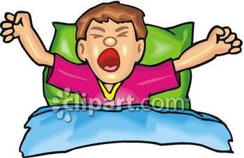 350x227 Clip Art Of A Man In Bed Just Waking Up, Streching And Yawning