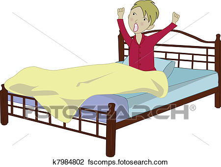 450x341 Clipart Of Boy Yawning And Stretching In Th Em K7984802
