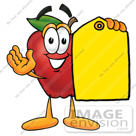 450x450 Clip Art Graphic Of A Red Apple Cartoon Character Holding A Yellow