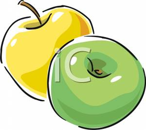 300x267 Free Clipart Image A Golden Apple And A Granny Smith Apple