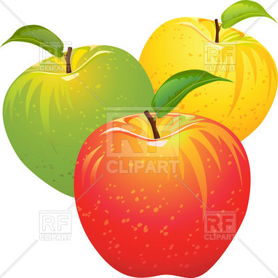 400x400 Red, Yellow And Green Apples Royalty Free Vector Clip Art Image