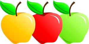 300x151 Yellow Red Green Apple's Clip Art Cliparts