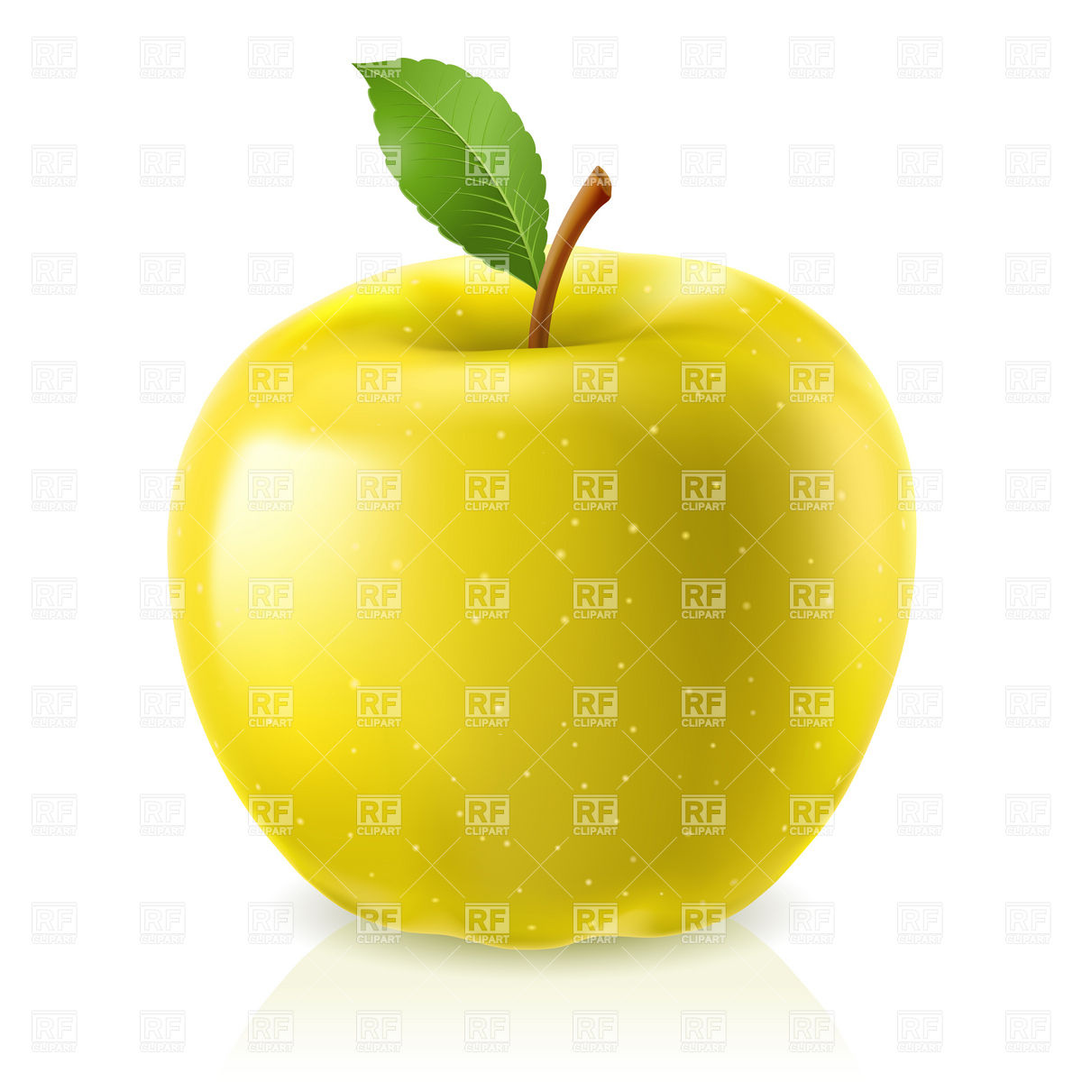 1200x1200 Yellow Apple With Leaf Royalty Free Vector Clip Art Image