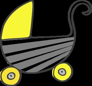 300x282 Gray Yellow Stroller Clip Art