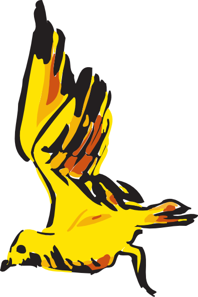 396x593 Yellow And Red Bird Flying Clip Art