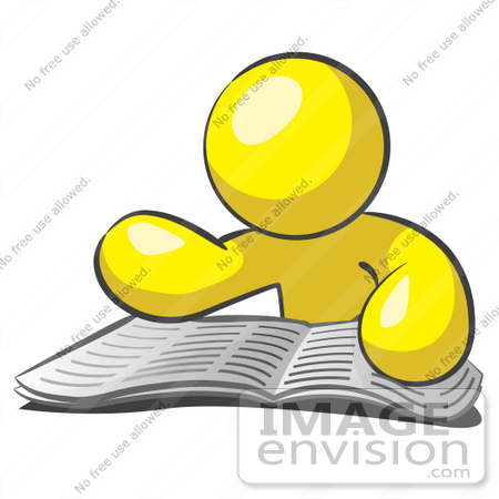 450x450 Clip Art Graphic Of A Yellow Guy Character Reading A Book