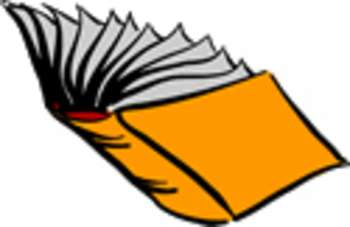 350x227 Free Clipart Picture Of An Open, Yellow Book