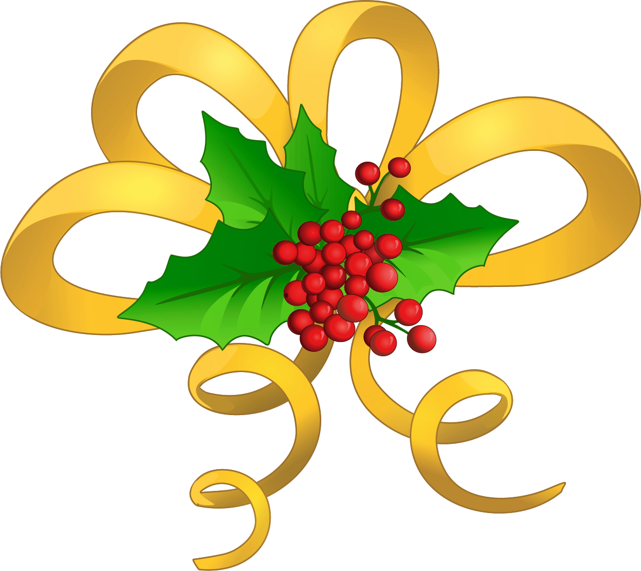 1295x1154 Christmas Yellow Bow With Mistletoe Png Clipartu200b Gallery
