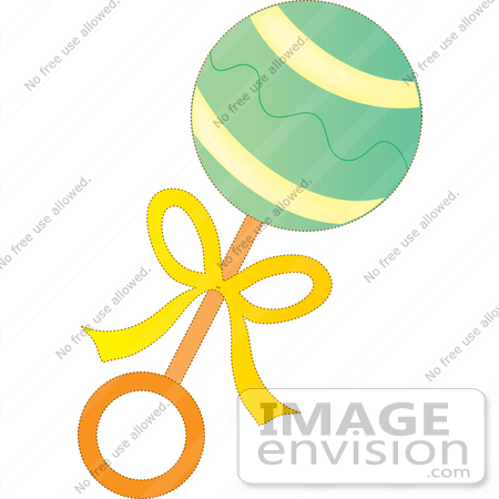 450x450 Clip Art Graphic Of A Green Baby Rattle With A Yellow Bow