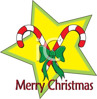 341x350 Picture Of Candy Canes With A Green Bow On A Yellow Star Merry