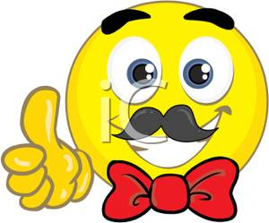 300x249 Yellow Smiley Face With A Red Bow Tie Clipart Image
