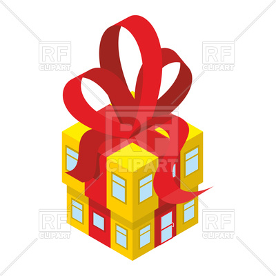 400x400 Yellow House With Red Bow Royalty Free Vector Clip Art Image
