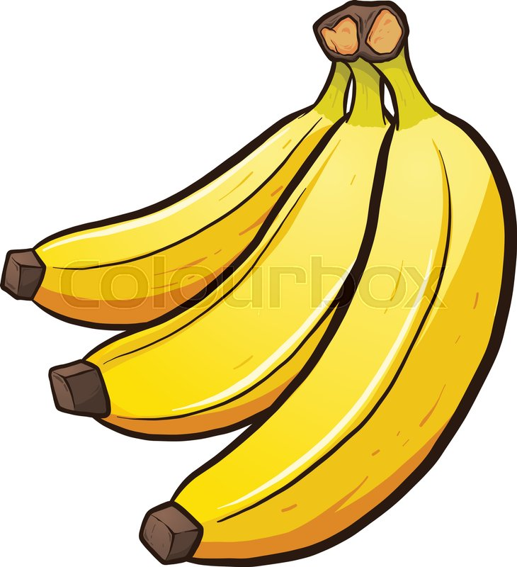 730x800 A bundle of cartoon bananas. Vector clip art illustration with