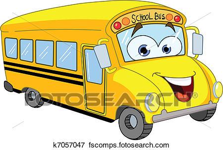 450x303 Clip Art Of Cartoon School Bus K7057047