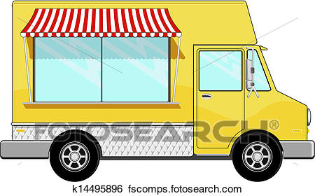 450x280 Clip Art Of Yellow Food Bus With Awning K14495896
