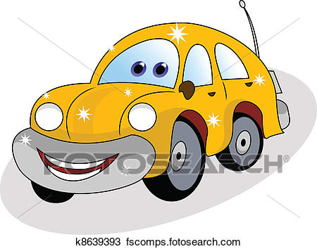 450x354 Clipart Of Funny Yellow Car K8639393