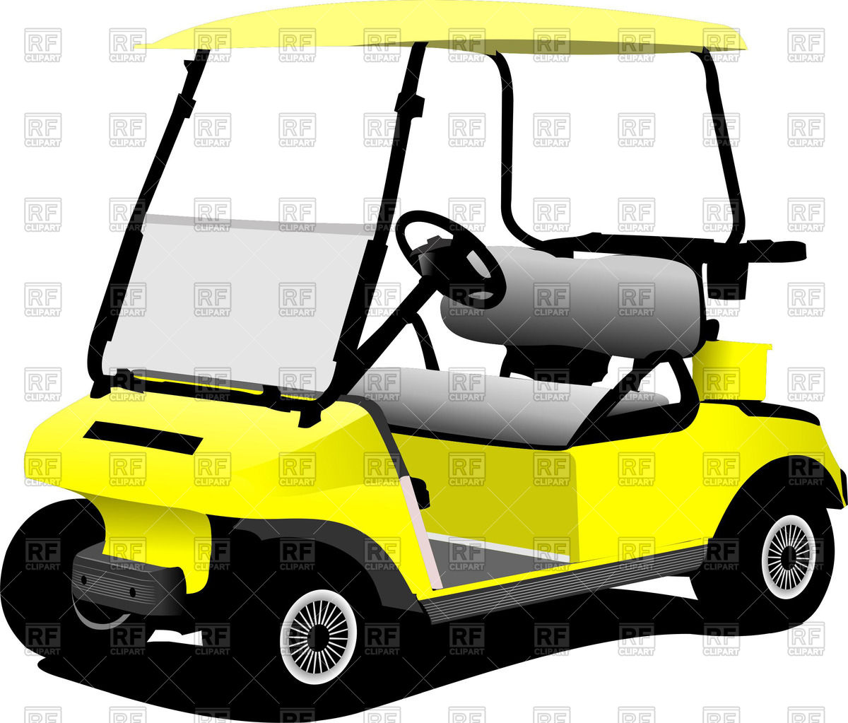 1200x1023 Yellow Electrical Golf Car Royalty Free Vector Clip Art Image