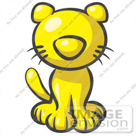 450x450 Clip Art Graphic Of A Yellow Kitty Cat