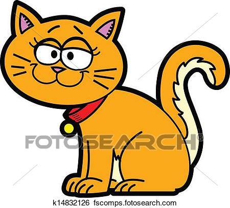450x407 Clip Art Of Cartoon Cat K14832126