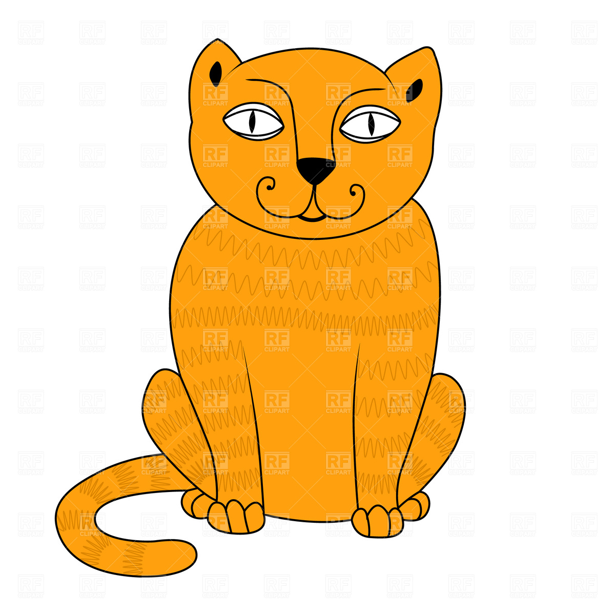 1200x1200 Sitting Cat Royalty Free Vector Clip Art Image