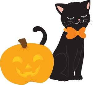 300x274 Sleeping Halloween Black Cat Clip Art