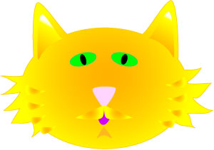 300x211 Yellow Cat Face Clip Art Graphics