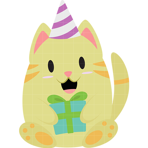504x504 Birthday Cat Clipart