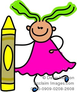 251x300 Illustration Of A Happy Little Girl Holding A Giant Yellow Crayon