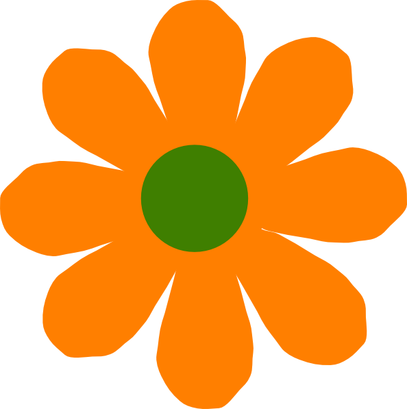594x597 Orange Flower Clip Art