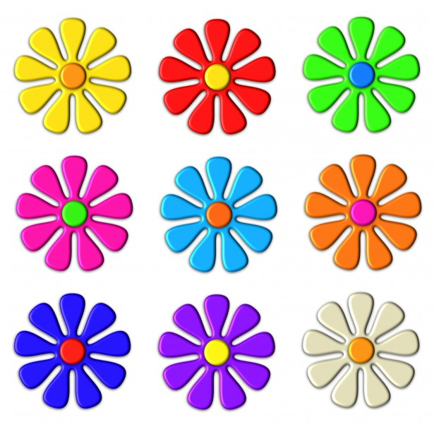 615x608 3d Flower Clip Art Free Stock Photo
